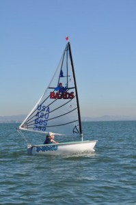 John W. sailing a Hansa 2.3 single. Photo courtesy of Jeff B.
